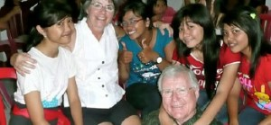 Bill and Pat with girls at the orphanage in Bali.