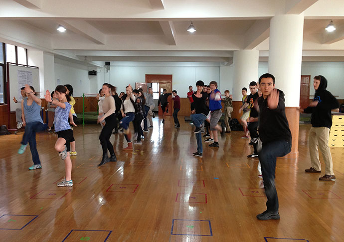 NWS students take taiji quan class at a partner school in Shanghai
