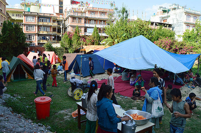 The orphans of ROKPA Chidren's Home camp outside following Tuesday's quake in Nepal.