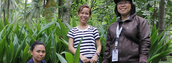 Grameen Foundation works with a team of organizations to help coconut farmers like Gina (center) revitalize their farms and increase their income.