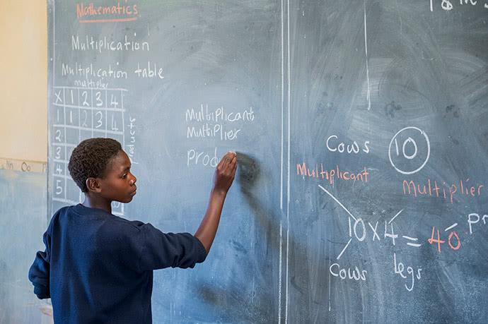 Tamara at blackboard