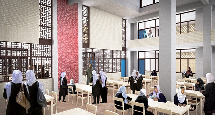 Artist rendering of public boarding school to be built by Sahar Education in Mazar-i-Sharif, Afghanistan