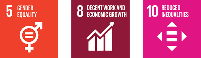 Gender equality, decent work and economic growth, and reduced inequalities icon
