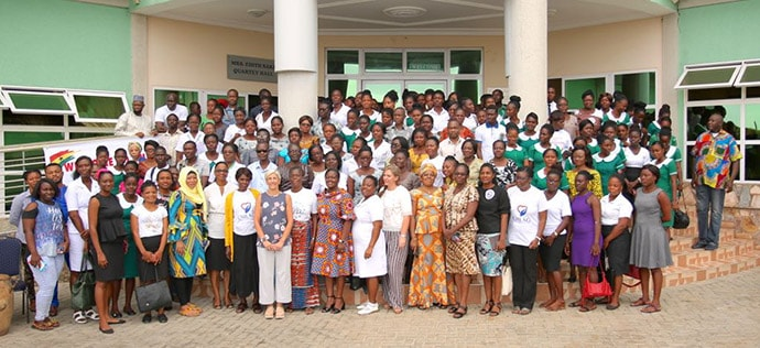 Pat Garcia-Gonzalez stands with CMLAG Patient Group & Korle Bu hospital staff in Accra, Ghana