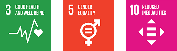 Good health and well being, gender equality, and reduced inequalities icon