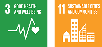 Good health and well being and and sustainable cities and communities icon