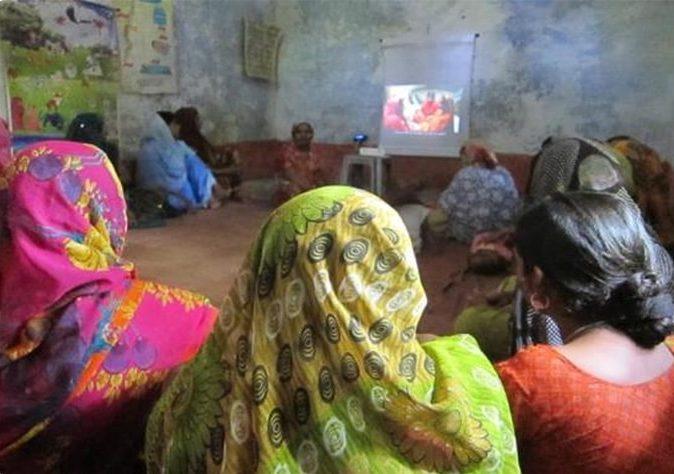 People watching video