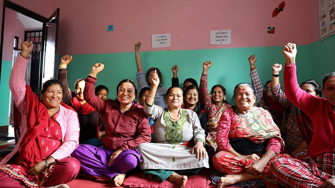 Women in Nepal at a signing event