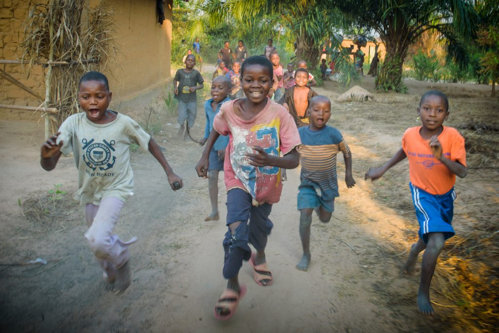 Children in Central Kasai Province, Kananga, DRC, where World Vision has responded to suffering after civil conflict by delivering food aid and setting up Child Friendly Spaces.