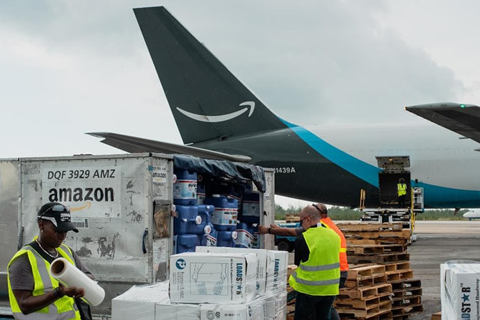 Members of the Disaster Relief by Amazon team in the field