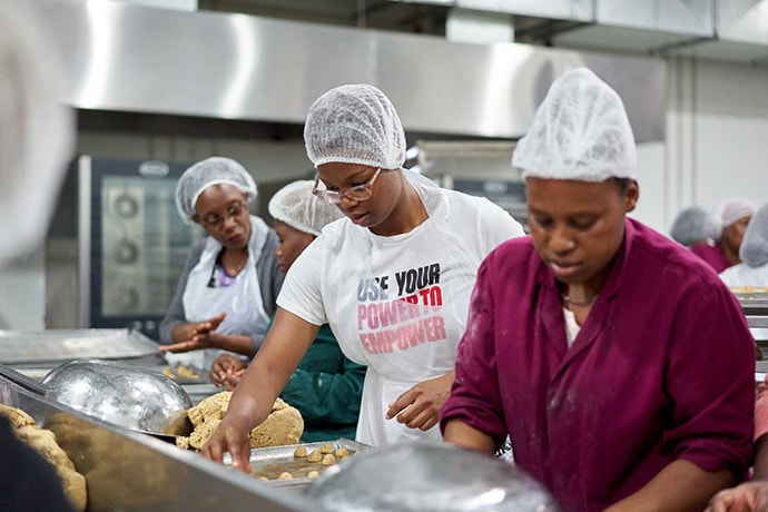 Women making cookies at Khayelitsha Cookie Company