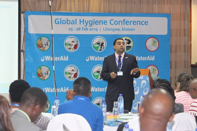 Dr. Om Prasad Gautam presenting at WaterAid's February 2019 Global Hygiene Conference