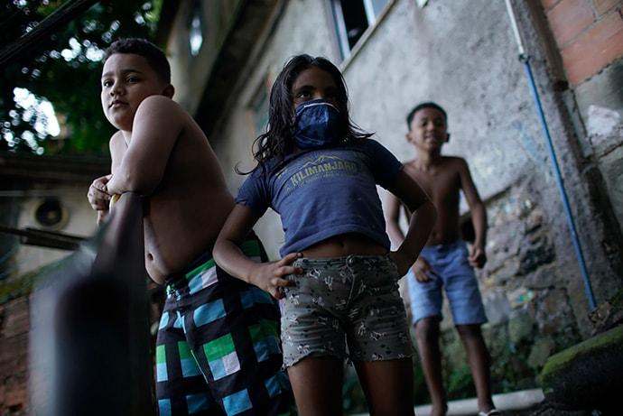 Children in a favela in Rio de Janeiro