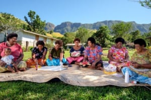 Women in Fiji creating traditional crafts