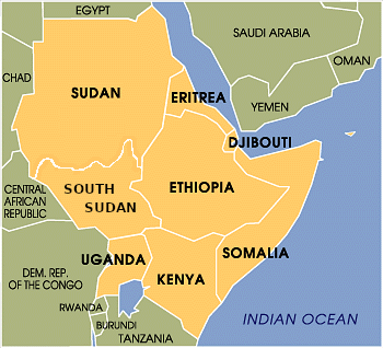 Map of the Horn of Africa.