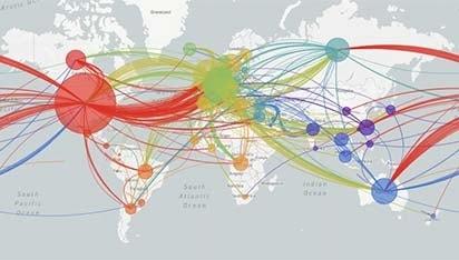 global path of COVID-19 map