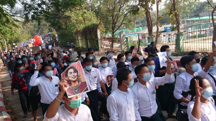 Teachers protesting a military coup in Myanmar
