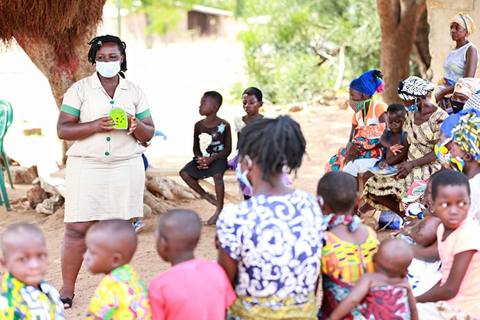 Photo credit: UNICEF Ghana. Community health nurses played Talking Book messages during ANC and child wellness clinics