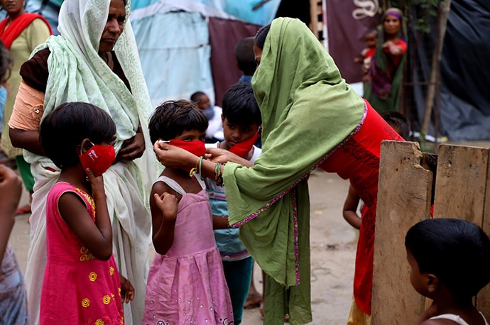 Women and children masking