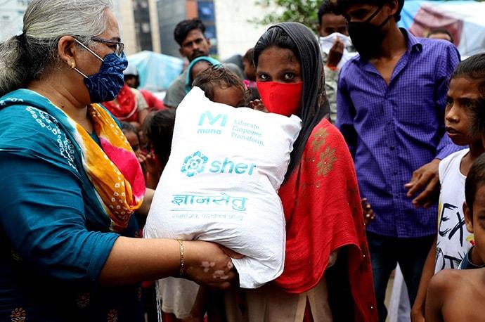 Women holding relier bag