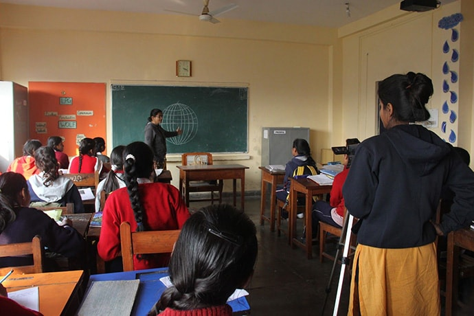 Study Hall Educational Foundation (India) creating videos of live classroom settings