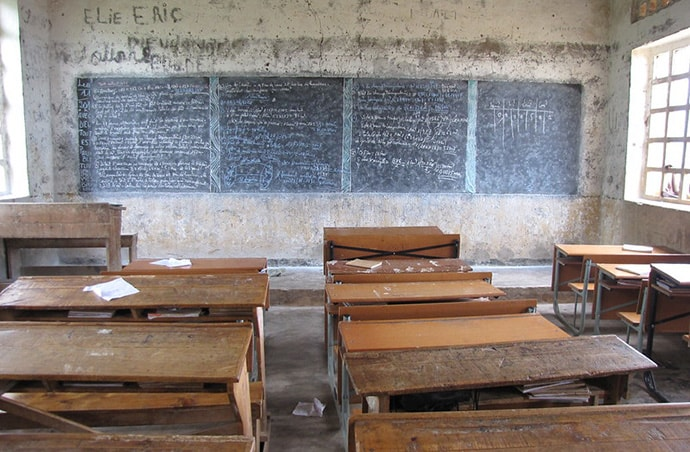 Empty classroom in Burundi