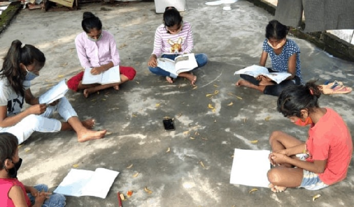 Students sitting and studying