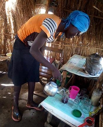 Martha Akur Nyibang in her teashop