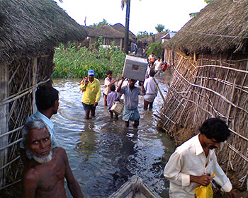 Polio vaccination campaign during floods in Bihar, India.