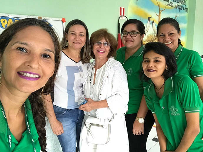 Mahnaz with teachers from the Association for Cohesive Development of the Amazon (ADCAM).  Started in 1985 as a small orphanage, ADCAM today is a nationally-recognized institution, which offers K-12, a technical college, vocational training, a family development center and rural education programs serving over 1,000 students, and 4,400 youth, families and elderly a day.