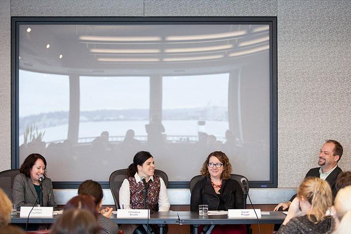 Teresa Guillien (Resource Media), Christina Bradic (World Vision U.S.), Sara Rogge (Bill & Melinda Gates Foundation), and John Glenn (U.S. Global Leadership Coalition) on a panel about making the case for development assistance.