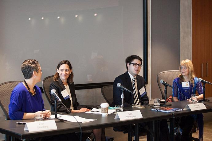 Erin Stuckey (Bill & Melinda Gates Foundation), Sumi Paranjape (Vulcan), David Pigott (IHME), and Linda Venczel (PATH)