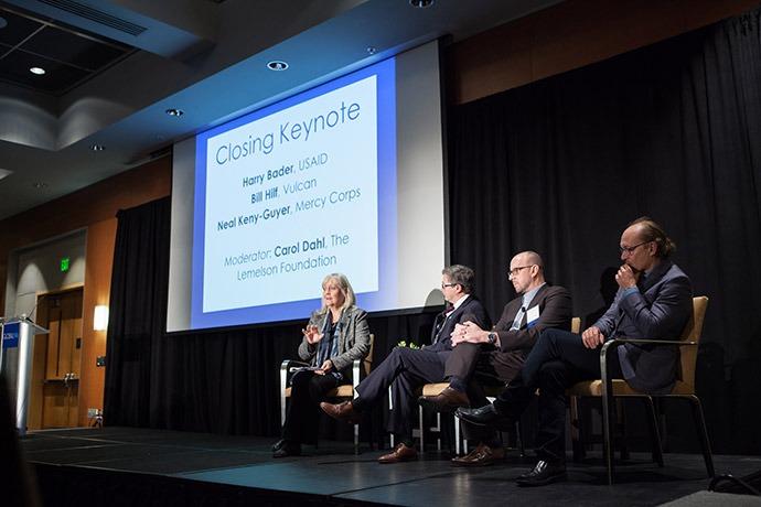 Carol Dahl (The Lemelson Foundation), Harry Bader (USAID), Bill Hilf (Vulcan), Neal Keny-Guyer (Mercy Corps)