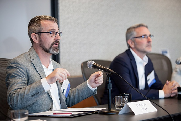 "Cameron Birge (Microsoft Philanthropies) and Neal Myrick (Tableau Foundation) on the ""Corporate Leadership for Crisis Response"" panel."