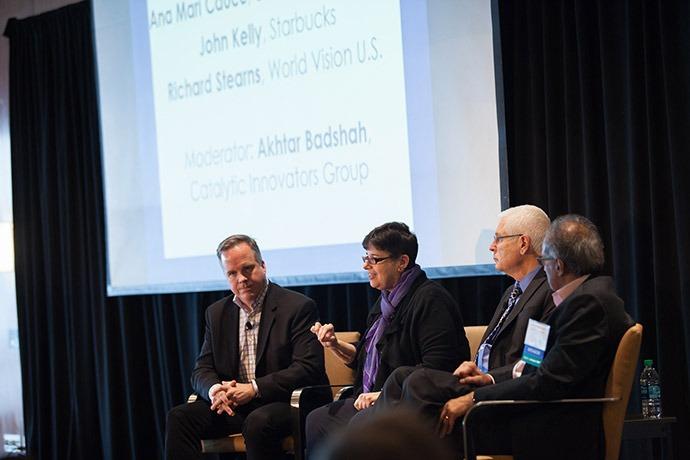John Kelly (Starbucks), Ana Mari Cauce (UW), Richard Stearns (World Vision U.S.), Akhtar Badshah (Catalytic Innovators Group).