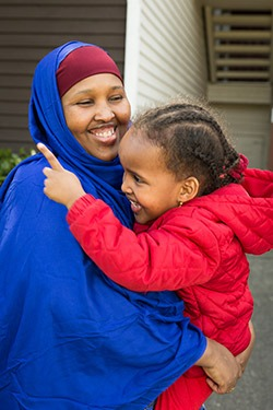 Somali mother and daughter resettled by the IRC and served by its intensive case management program