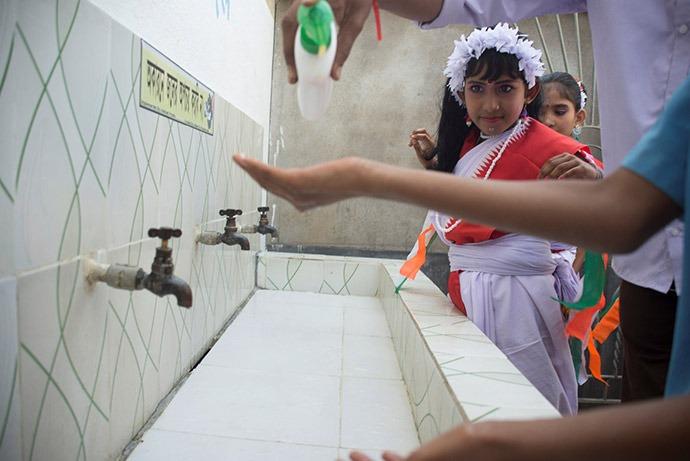 Children at sink